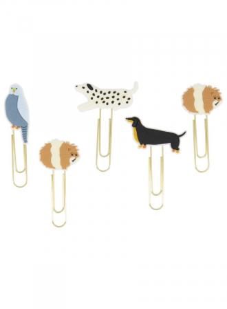 Set van 5 goudkleurige paperclips met rubberen diertjes
