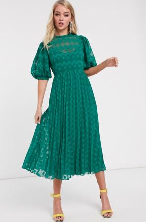 Donkergroene midi-jurk met korte mouwen en plissérok