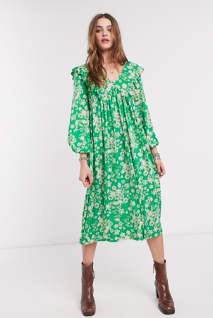Groene midi-jurk met witte bloemenprint en lange mouwen