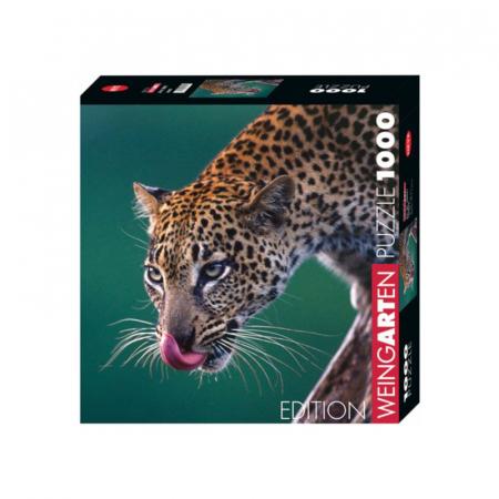 Close-up van luipaard met 1000 puzzelstukjes