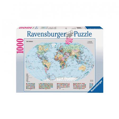 Staatkundige wereldkaart met 1000 puzzelstukjes