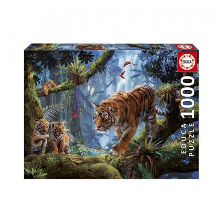 Puzzel van tijgers in jungle met 1000 puzzelstukken