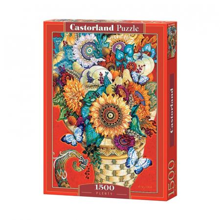 Rechtstaande puzzel van boeket bloemen met 1500 puzzelstukken