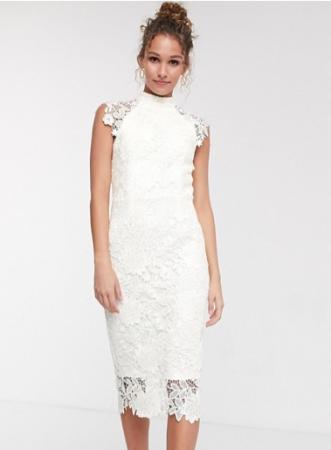 Kanten midi-jurk met kapmouwen en opstaand kraagje