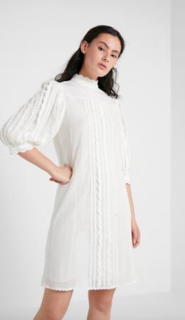 Witte mini-jurk met korte mouwen en opstaand kraagje