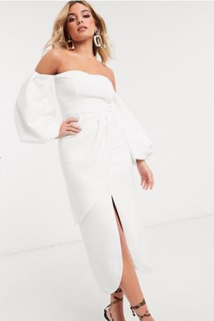Witte midi-jurk met pofmouwen en split