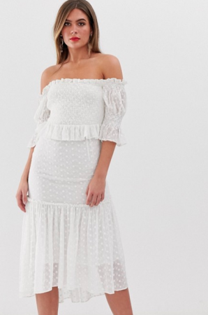 Witte midi-jurk in broderie anglaise