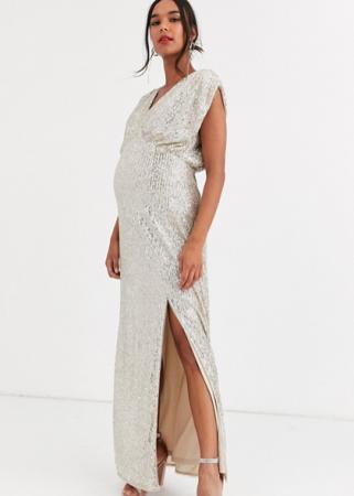 Mouwloze maxi-jurk met split bezet met pailletten