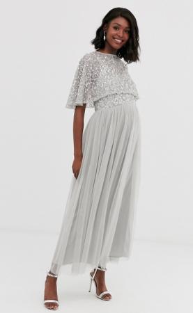 Zilvergrijze maxi-jurk met body bezet met pailletten en rok in tule