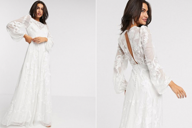 Ivoorkleurige maxi-jurk met pofmouwen en borduursels
