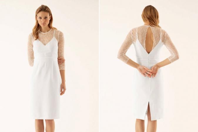 Witte mini-jurk met kanten body