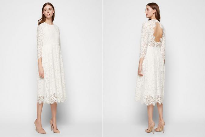 Kanten midi-jurk met driekwartmouwen
