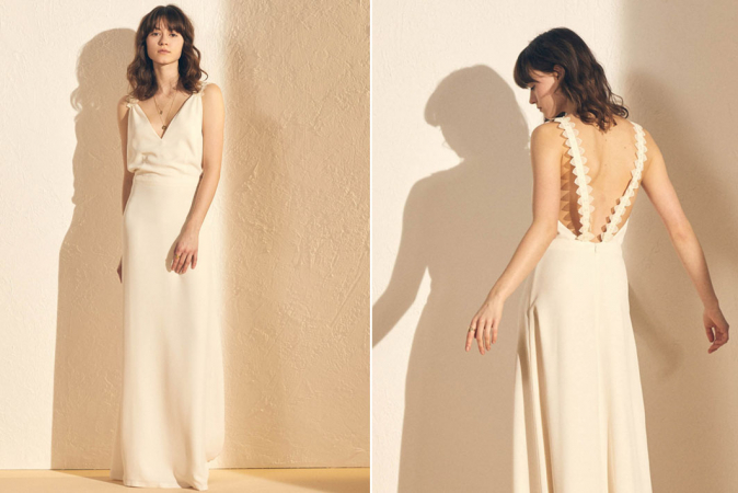Maxi-jurk met V-hals in crêpe 'Audrey Oui'