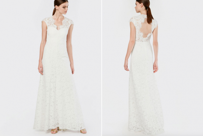 Witte kanten maxi-jurk met kapmouwen