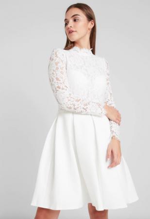 Korte jurk met kanten body en opstaand kraagje