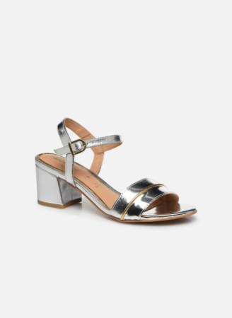 Zilverkleurige sandalen met goudkleurig detail '