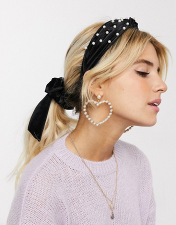 Zwarte haarband met parels