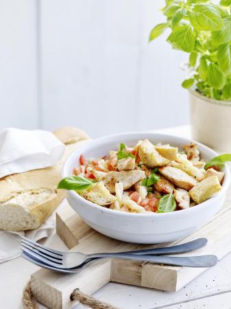 Bruschetta chicken-pastasalade