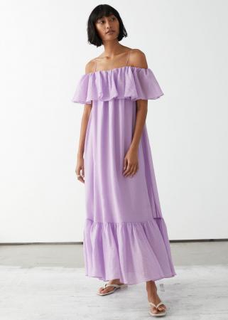 Lilakleurige maxi-jurk met ruches