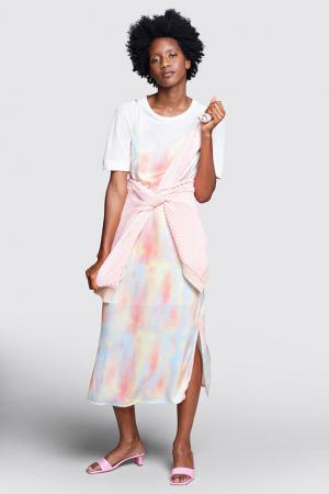 Slipdress in tie dye-print
