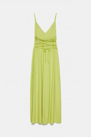 Limoengroene jurk met koordjes