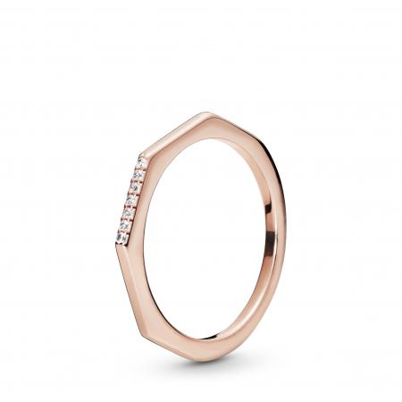 Geometrische ring verguld met 14k roségoud