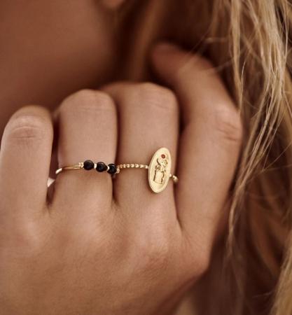 Zilveren ring met 3 unieke Onyx-stenen