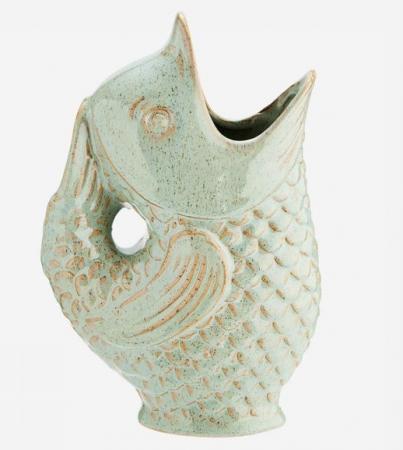 Lichtgroene vaas in de vorm van een vis (23,5 cm)