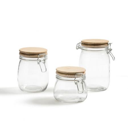 Set van drie glazen bewaarpotten