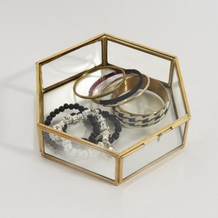 Messing juwelendoosje met glas