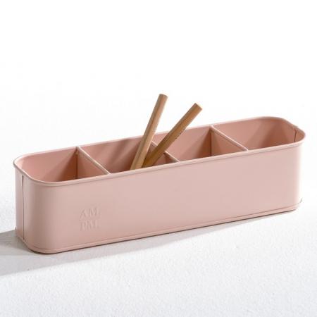 Roze pennenhouder met vier vakken