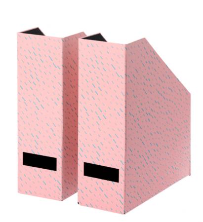 Roze lectuurbak met blauwe spikkels