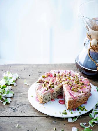 Upsidedown cakevan rabarber en amandel