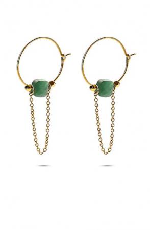 Boucle d'oreille avec pierre verte