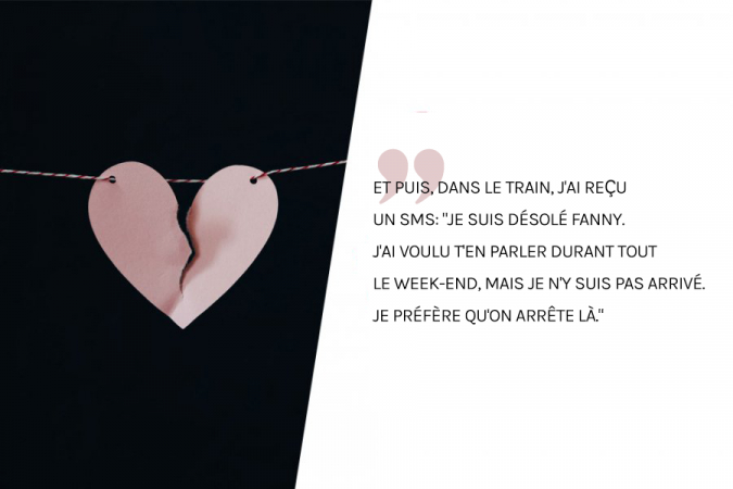 Après un week-end romantique à Paris, le petit ami de Fanny l'a laissé tomber par SMS