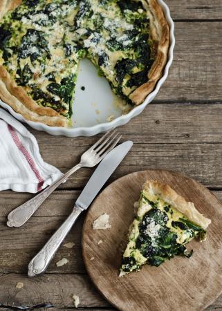 Quiche met spinazie, artisjok en kaas