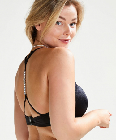 Zwarte bikinitop met parels
