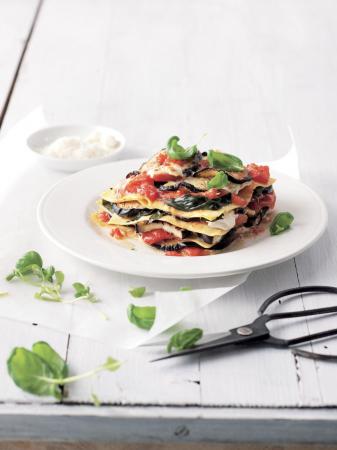 Vegetarische lasagne met aubergine en verse tomaten