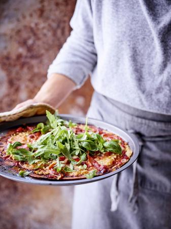 Kikkererwtenpizza met rucola (4 personen)