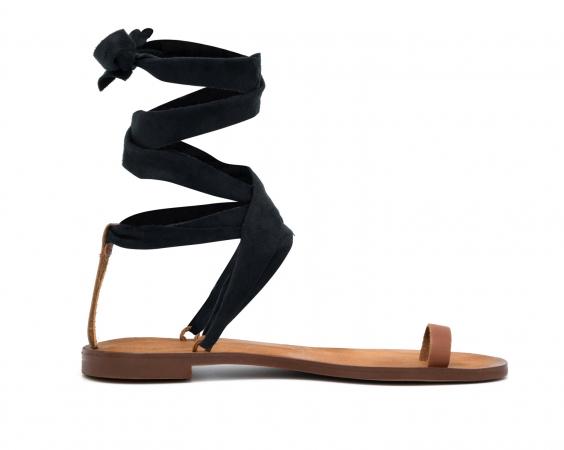 Sandaal met zwart lint