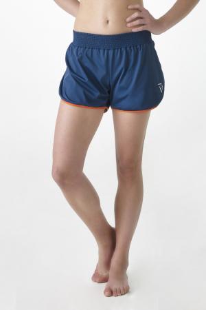 Blauwe short met gekleurde zoom