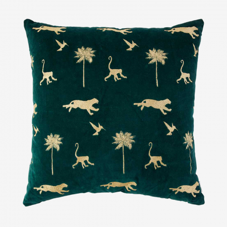 Velvet kussen met dieren en palmbomen