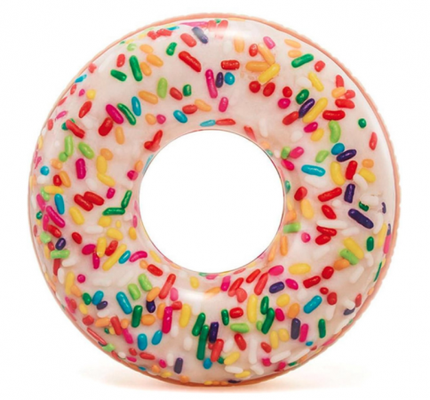 Pool float in de vorm van een donut met sprinkles
