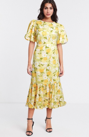 Gele midi-jurk met bloemenprint en pofmouwen