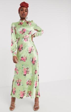 Groene maxi-jurk met bloemenprint in satijn