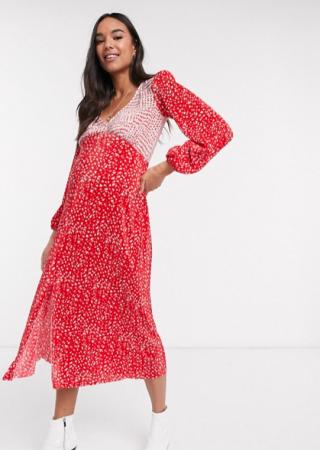 Rood-witte midi-jurk in plissé