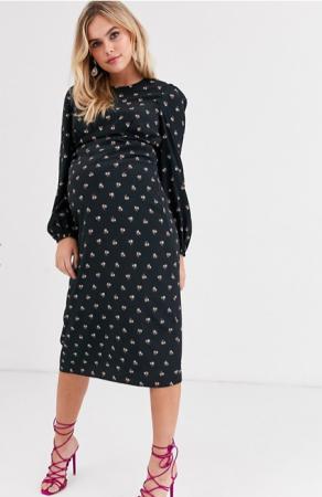 Zwarte midi-jurk met lange mouwen en bloemenmotief