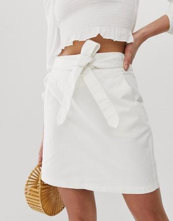 Witte jeansrok met strikdetail