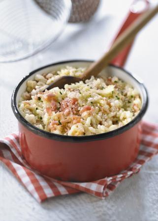 Risotto met ham en maïs