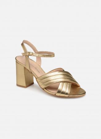 Goudkleurige sandalen met blokhak